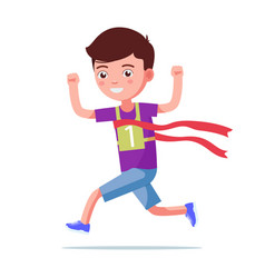 Cartoon boy running and winning a marathon vector