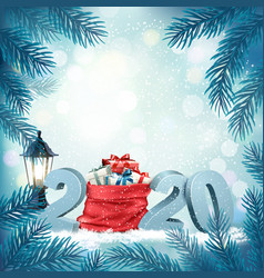 Christmas holiday background with 2020 and red vector