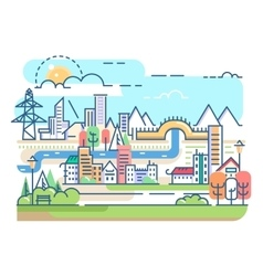 City with river and dwellings vector image