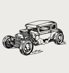 classic hot rod car template vector image