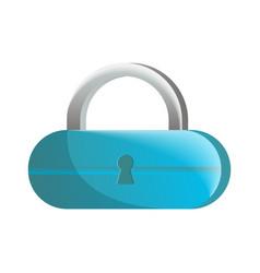 closed blue lock icon in flat design vector image