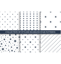 collection of seamless star patterns vector image
