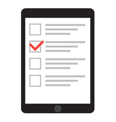computer tablet with checklist on screen vector image