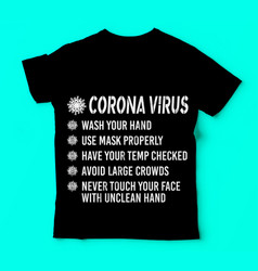Covid 19wash your hand use mask properly tshirts vector