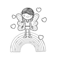 Cute little fairy with rainbow and hearts vector