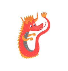 cute red cartoon baby dragon character mythical vector image