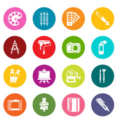 Design and drawing tools icons set colorful vector