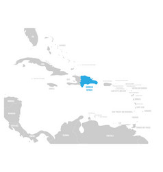 dominican republic blue marked in the map of vector image