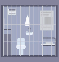 Empty prison jail or detention center room vector