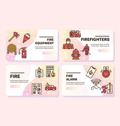 firefighting red linear icons set vector image