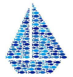 fish yacht mosaic vector image