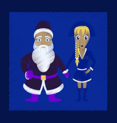 Flat shading style icon santa claus and girl vector