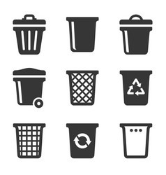 garbage icons set on white background vector image