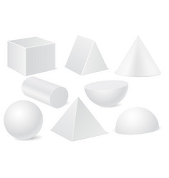 geometric shapes set of white 3d mockups vector image