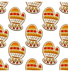 Gingerbread mitten seamless pattern vector image