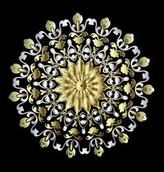 gold baroque floral round mandala pattern vector image