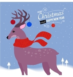 Greeting card with Christmas deer vector