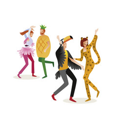 group of people in carnival costumes jungle vector image