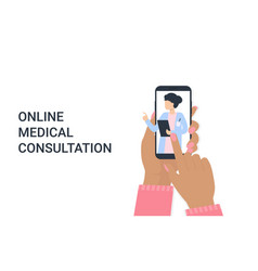 hand woman with phone and doctor woman online vector image
