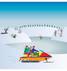 Happy family on a Snowmobile Christmas vacation vector image