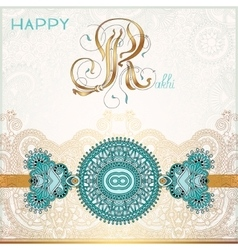 Happy rakhi greeting card for indian holiday vector