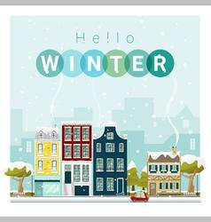 Hello winter cityscape background 1 vector