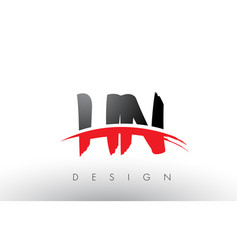 hn h n brush logo letters with red and black vector image