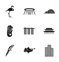 Holiday in Singapore icons set simple style vector