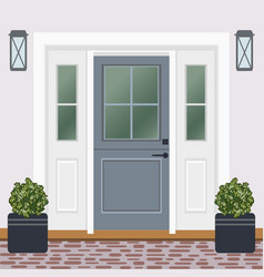 House door front with doorstep and window lamps vector