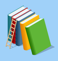 isometric stack book on white background vector image