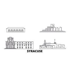 Italy syracuse line travel skyline set italy vector