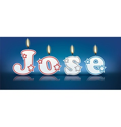JOSE written with burning candles vector image