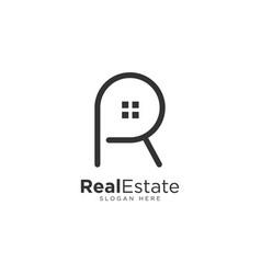 Letter r real estate logo template vector