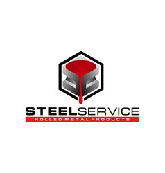 Logo steel service rolled metal products vector