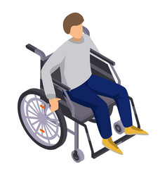 man in wheelchair icon isometric style vector image