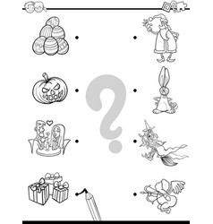 Match holidays educational coloring book vector