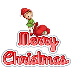 Merry Christmas with elf vector image
