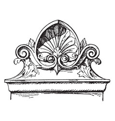 Modern french akroter gable vintage engraving vector