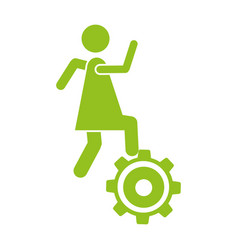 Monochrome silhouette with woman over pinion vector