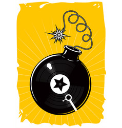 music poster with vinyl record and bomb dance vector image