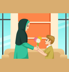 Muslim boy giving flower to his mother vector