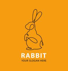 one line rabbit logo vector image