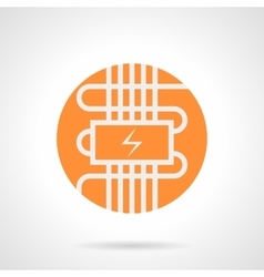 Orange electric warm floor round icon vector