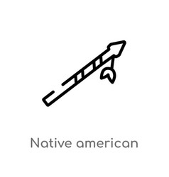 Outline native american spear icon isolated black vector