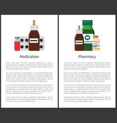 Pharmacy medication items set vector