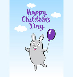 Postcard smiling cartoon hare with balloon for vector