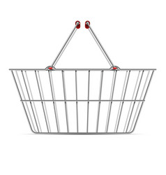 realistic empty supermarket shopping metal basket vector image