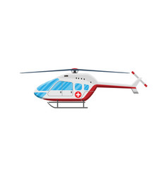 red ambulance helicopter vector image