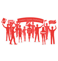 Red silhouette of protesters people demonstration vector