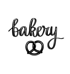 Retro bakery calligraphy pretzel vector